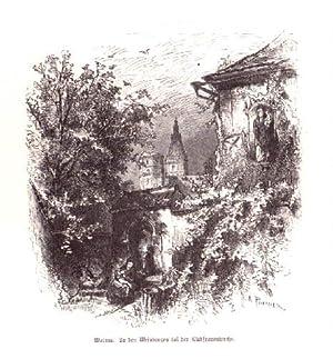 In den Weinbergen bei der Liebfrauenkirche. Holzstich: Worms -