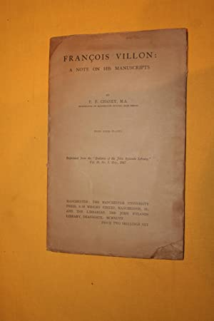 FRANCOIS VILLON A note on his manuscripts