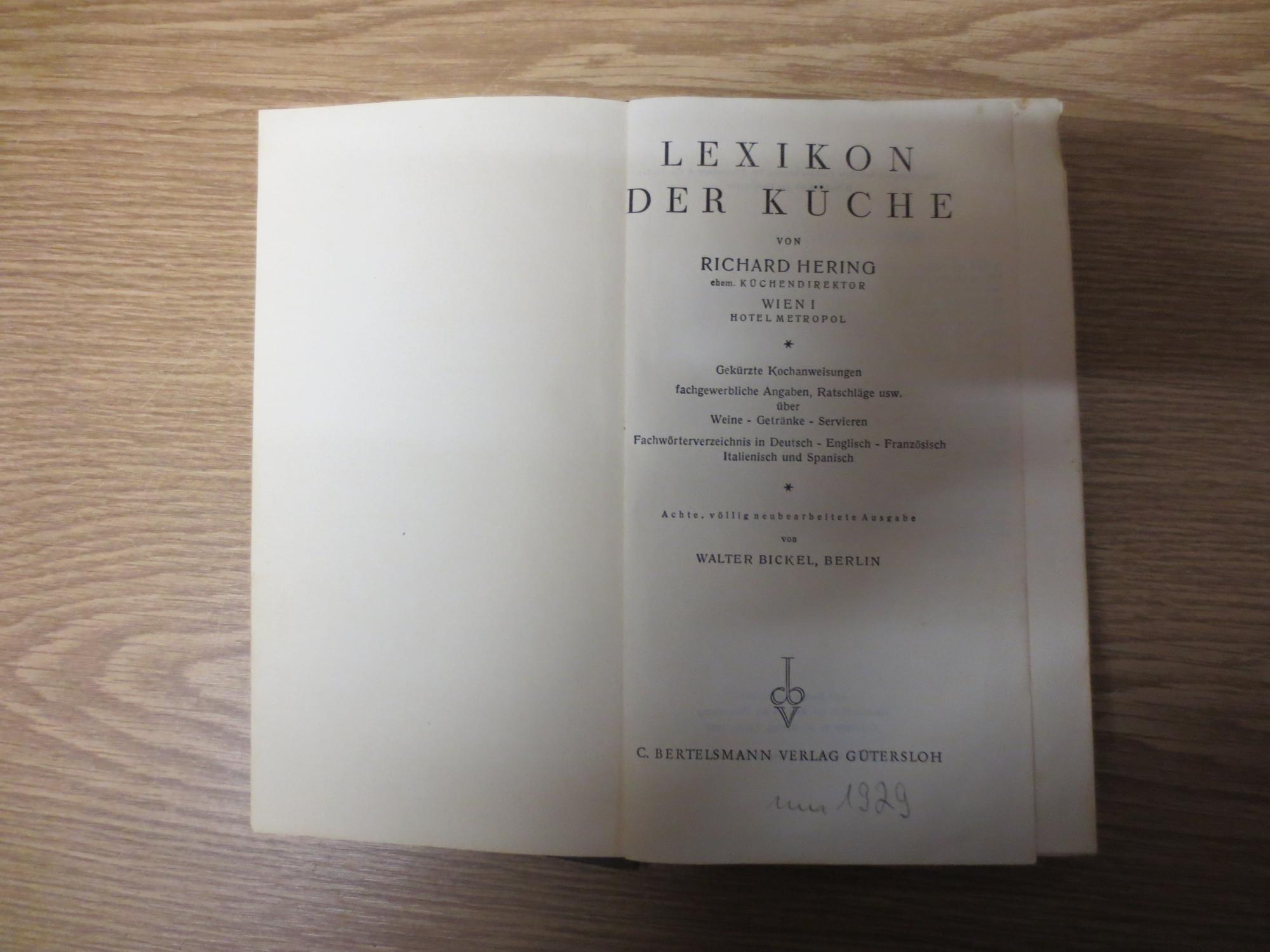 Lexikon Der Kuche Gekurzte Kochanweisungen Fachgewerbliche Angaben