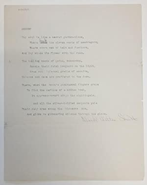 Sonnet [ aka Duality ] by Clark Ashton Smith (Typed, Hand-corrected) Signed 1915