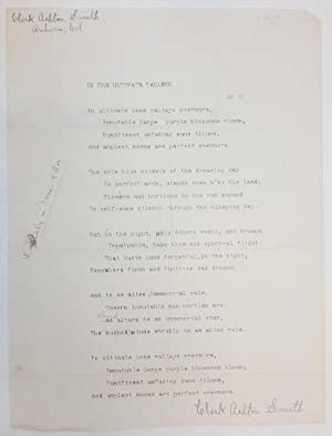 In the Ultimate Valleys by Clark Ashton Smith (Typed Poem) Signed 1914 Signed