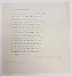 The City in the Desert by Clark Ashton Smith (typed, hand-dated) Signed Poetry 1915 Signed
