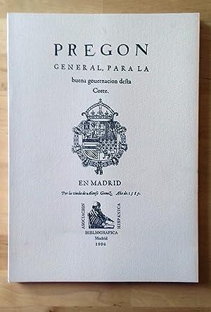 PREGON GENERAL PARA LA BUENA GOUERNACION DEFTA: VV.AA.