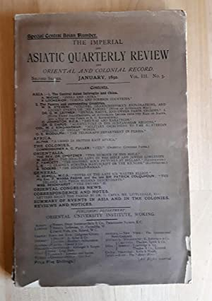 THE IMPERIAL AND ASIATIC QUARTERLY REVIEW AND ORIENTAL AND COLONIAL RECORD. JANUARY, 1892 VOL. II...