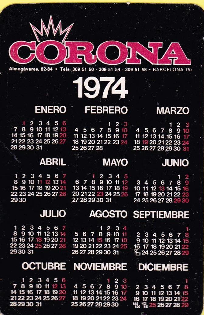 Calendario 1974.Calendario Corona Recambios Repuestos De