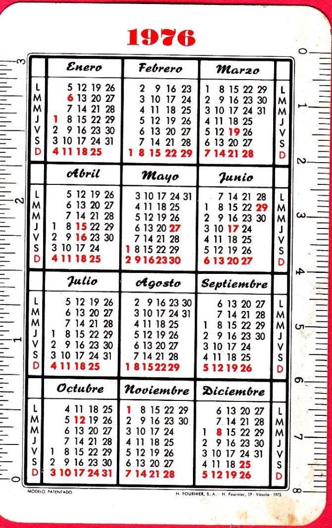 Calendario 1976.Calendario Fournier Mapfre Centro De