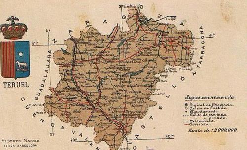 Mapa Provincia De Teruel.Mapa Con Escudo De La Provincia De Teruel