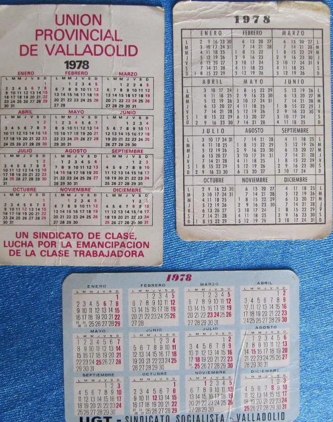1978 Calendario.Calendario Lote De 3 Calendarios De La Ugt