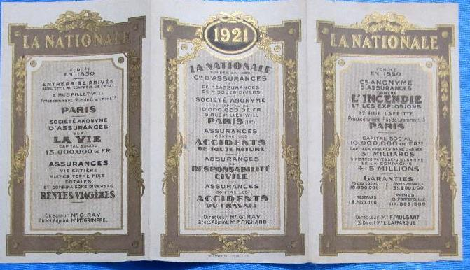 Calendario 1921.Calendario Para 1921 La Nationale Cie D Assurances Paris