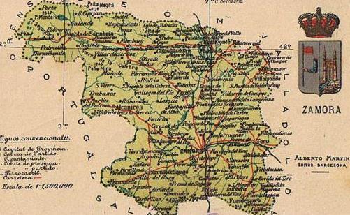 Mapa De Zamora Provincia.Mapa Con Escudo De La Provincia De Zamora