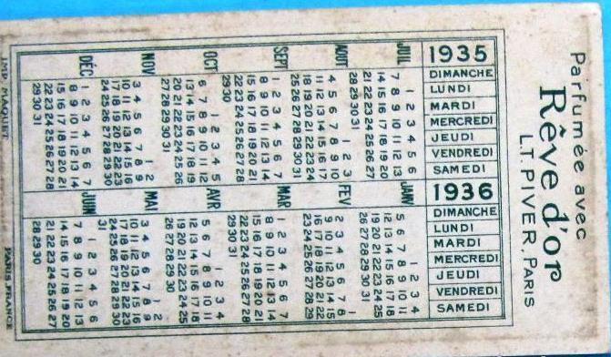 Calendario 1936.Calendario Para 1935 1936 Parfumee Avec