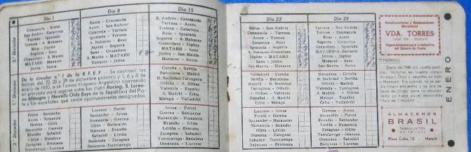 Calendario 1949.Clarin Publicidad Calendario De Liga De 1ª