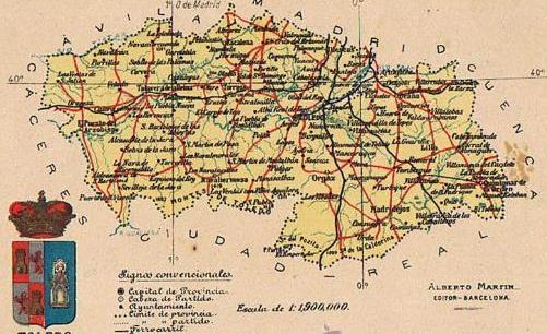 Mapa Con Escudo De La Provincia De Toledo Alberto Martin Editor