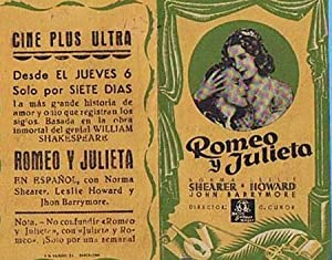 ROMEO Y JULIETA. CINE PLUS ULTRA. NORMA SHEARER, LESLIE HOWARD, JHON BARRYMORE (Cine/Folletos de ...