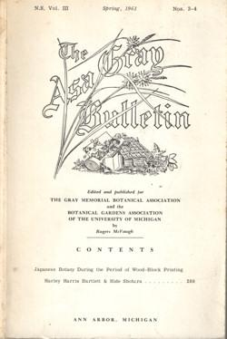 The Asa Gray Bulletin. New Seies. Volume III: Bartlett, Harley H. & Rogers McVaugh (editors)