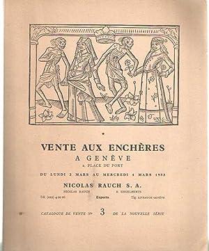 Vente aux enchères a Genève du port.Manuscrits enluminés, Incunables - ...