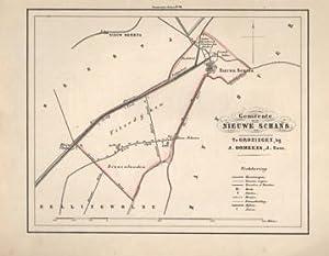 Kaart van Nieuwe Schans uit de Gemeente-atlas van Groningen. De gemeentegrens is handgekleurd