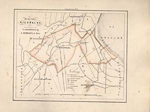 Kaart van Nieuwolda uit de Gemeente-atlas van Groningen. De gemeentegrens is handgekleurd