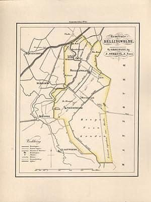 Kaart van Bellingwolde uit de Gemeente-atlas van Groningen. De gemeentegrens is handgekleurd
