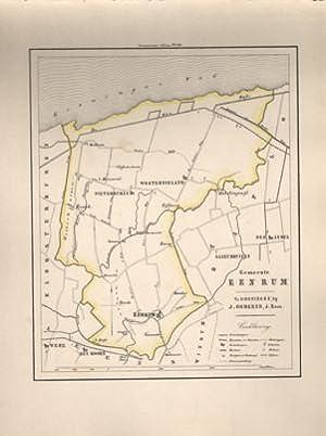 Kaart van Eenrum uit de Gemeente-atlas van Groningen. De gemeentegrens is handgekleurd