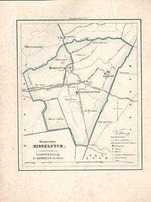 Kaart van Middelstum uit de Gemeente-atlas van Groningen. De gemeentegrens is handgekleurd