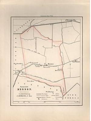 Kaart van Meeden uit de Gemeente-atlas van Groningen. De gemeentegrens is handgekleurd