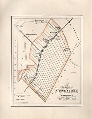 Kaart van Nieuwe Pekela uit de Gemeente-atlas van Groningen. De gemeentegrens is handgekleurd