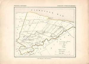 Kaart van Uithuizermeeden uit de Gemeente-atlas van Groningen. De gemeentegrens is handgekleurd: ...