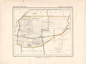 Kaart van Zuidbroek uit de Gemeente-atlas van Groningen. De gemeentegrens is handgekleurd: Kuyper, ...