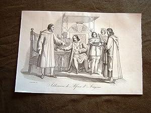 Incisione rame del 1851 Alfonso II Aragona