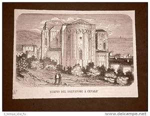 Cefalù nel 1876 Tempio del Salvatore Sicilia