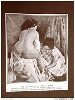 Stampa del 1924 Dopo il bagno Quadro