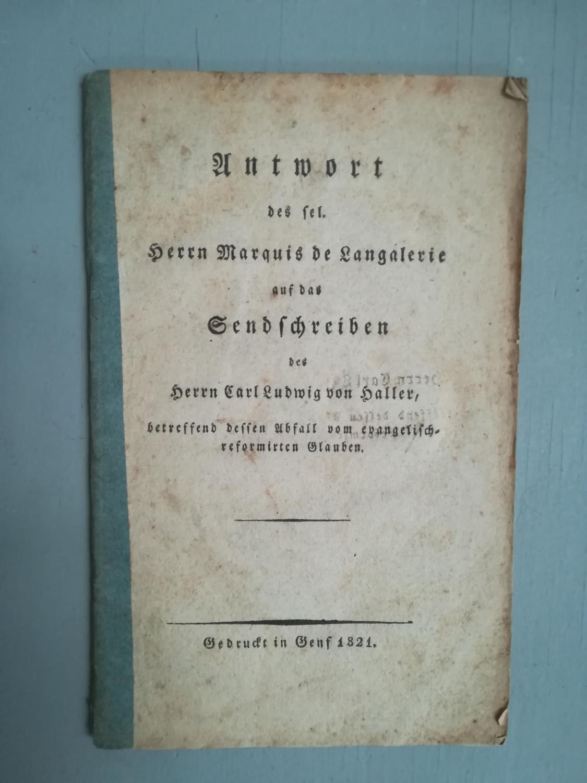 Herrn Marquis de Langalerie: Haller Langalerie, Marquis