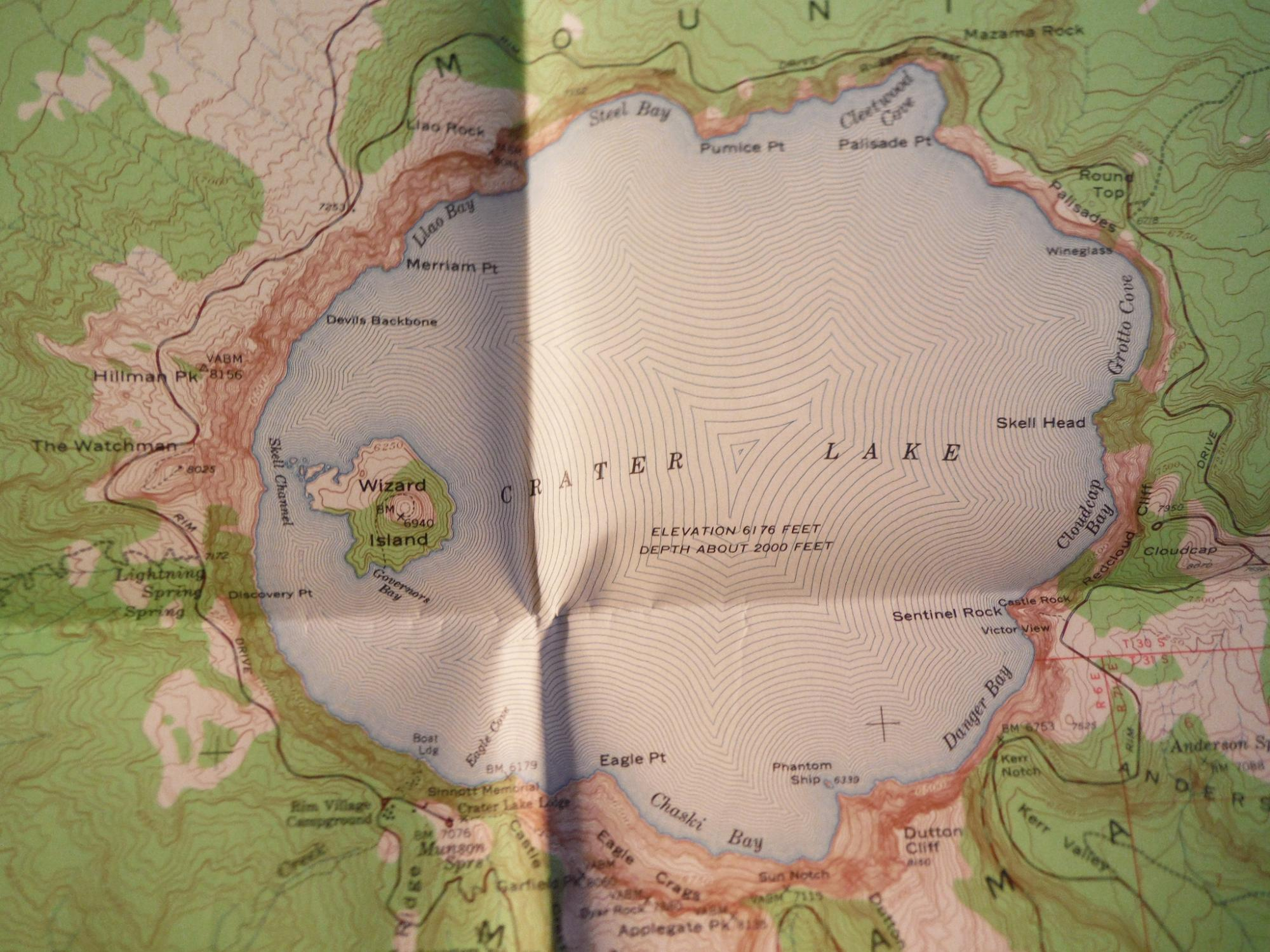 Topographical Map Crater Lake National Park ...