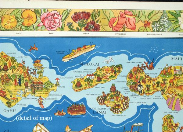 The Dole Map of the Hawaiian Islands U.S.A. Being a descriptive portrayal of the history, ...