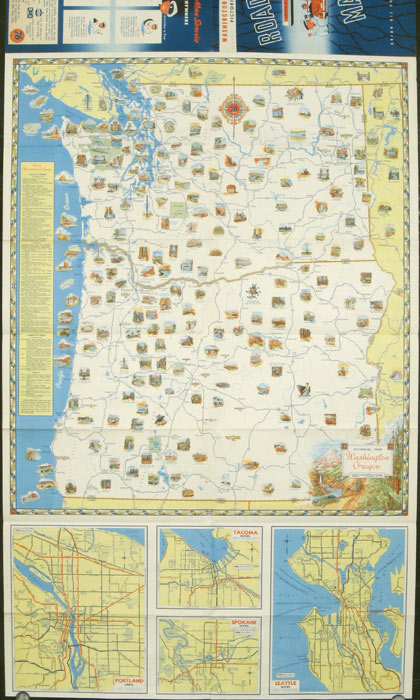 Washington - Oregon Pictorial Road Map. Map title: Pictorial Map Washington Oregon. WASHINGTON / OREGON)