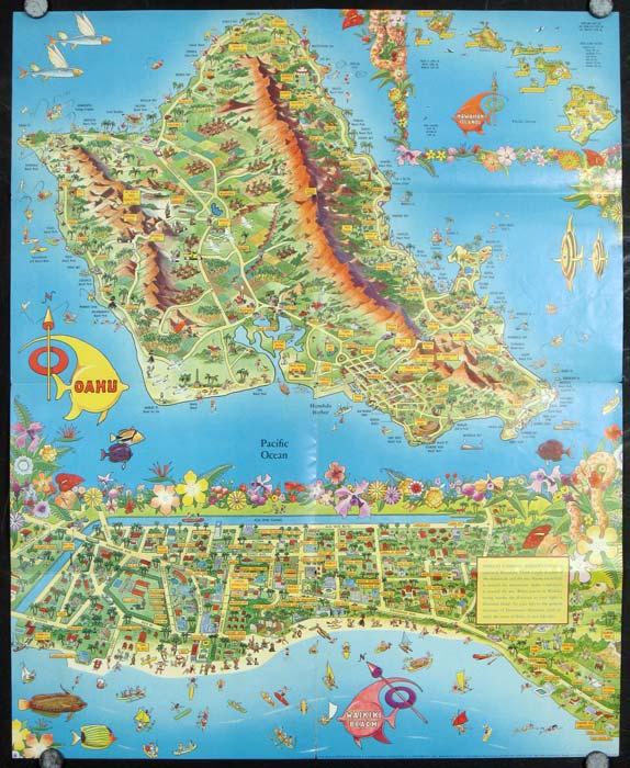 A pic tour map honolulu waikiki and round the isle of oahu by a pic tour map honolulu waikiki and round the isle of oahu gumiabroncs Choice Image