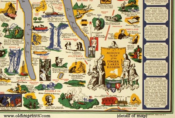 A Romance Map of the Finger Lakes Region. by NEW YORK) Ayres, Sydney ...