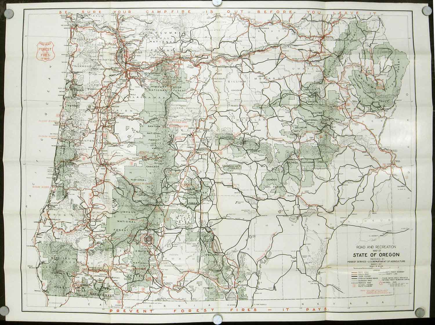 Road and Information Map for the National Forests of Oregon. U.S. ...