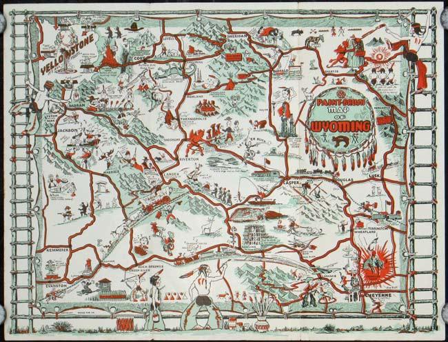 Paint Brush Map Of Wyoming By Wyoming Carrigen Tom Illus