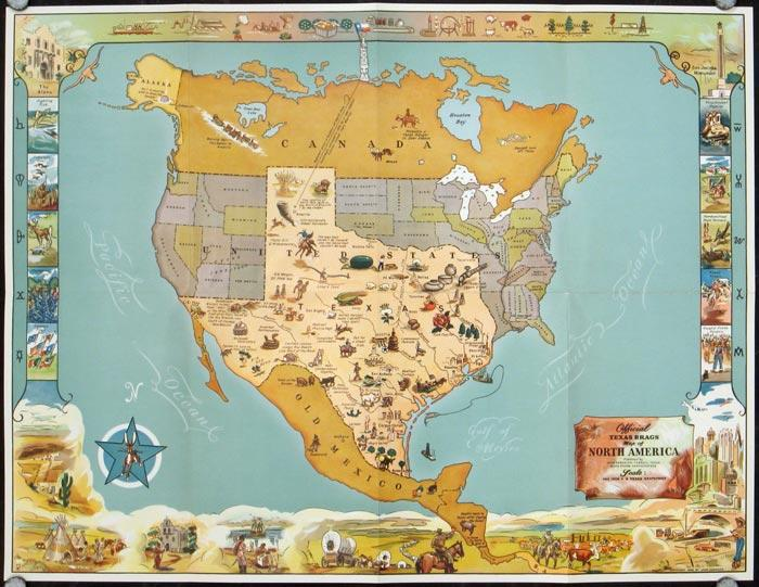 Map Of America Texas.Official Texas Brags Map Of North America