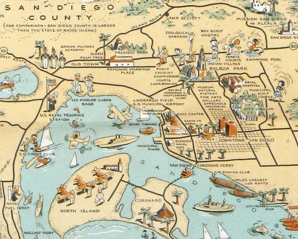 Map of San Diego California. City and County.