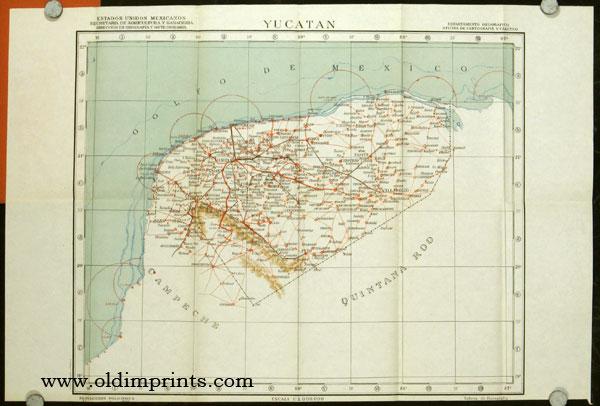 Mapa de Yucatan. 1954. Map title: Yucatan. MEXICO)