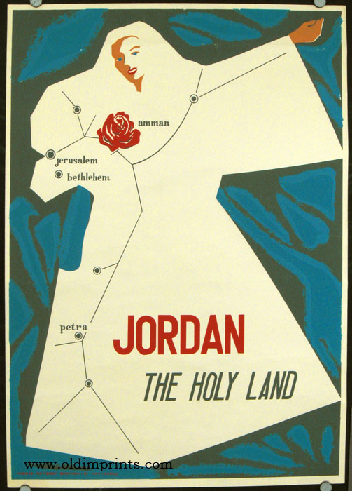 Jordan The Holy Land. JORDAN) Color original vintage poster (silkscreen), 27 1/2 x 19 3/4 inches. Light horizontal crease with some abrasion, some soft crinkles from rolling, short