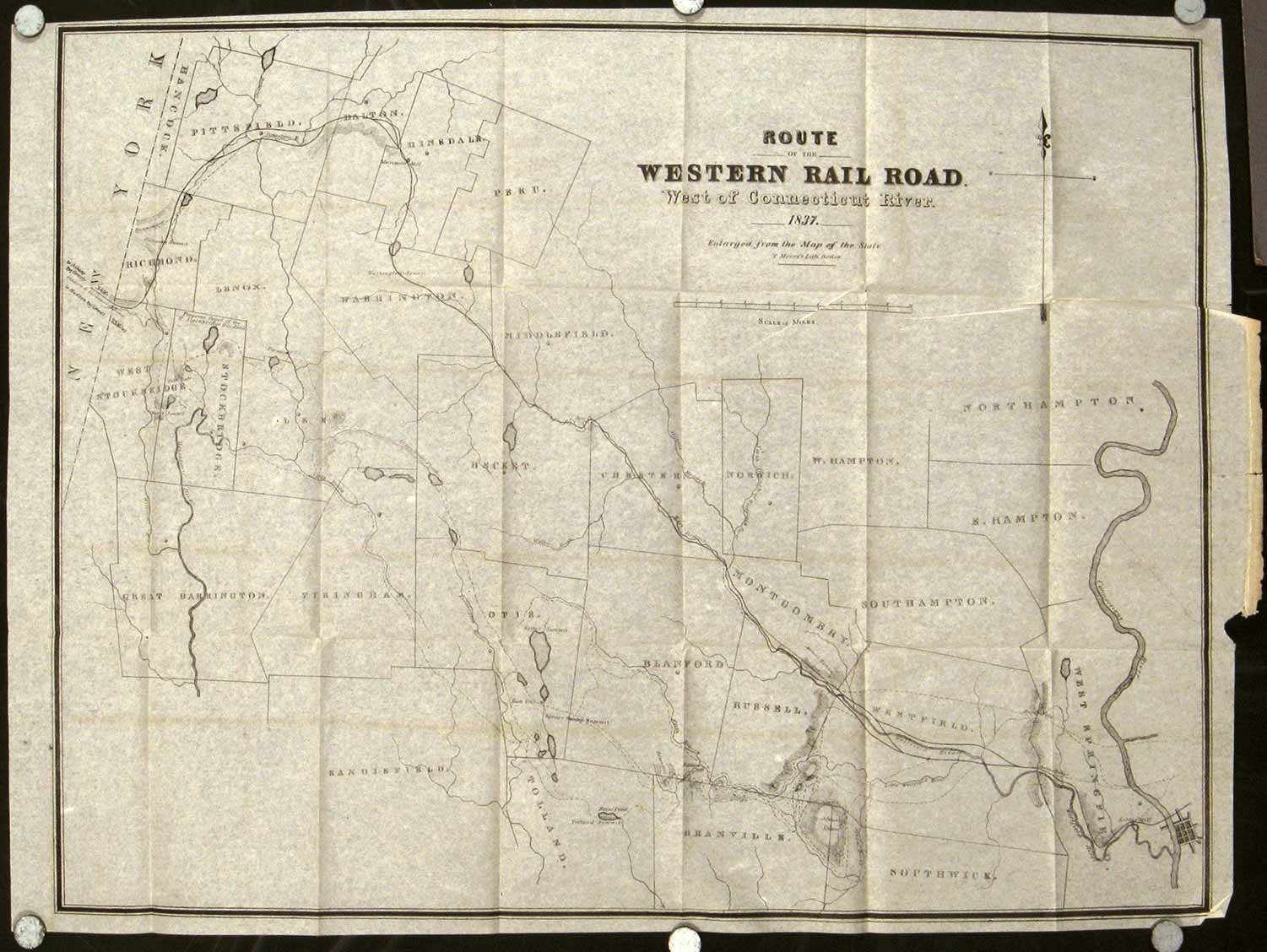 Route of the Western Railroad. West of the Connecticut River. 1837. Enlarged from the Map of the State. WESTERN RAILROAD / CONNECTICUT)