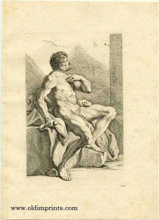 Untitled male nude study. RIDINGER) Ridinger, Johannes Elias (1698 - 1767).