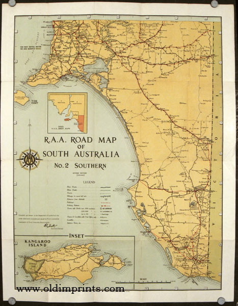 Kangaroo Island Australia Map.A A Road Map Of South Australia Map Title A A Road Map Of