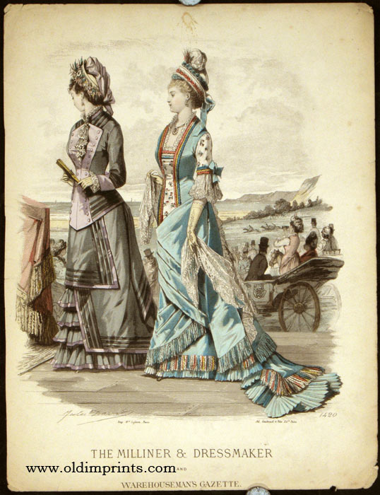 The Milliner & Dressmaker and Warehouseman's Gazette. Untitled fashion print no. 1420. 1870s FASHION) David, Jules and Bonnard (illus). Softcover Engraving, with hand-color, sheet size approximately 12 x 9 inches. Corners softly creased, a couple of short edge tears mended with archival tape, fa