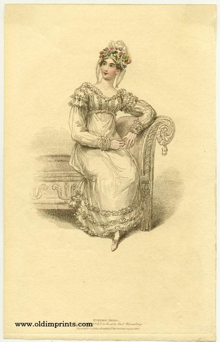 Evening Dress. 1810s FASHION) Softcover Etching / engraving with stipple engraving, handcolored, on sheet 8 3/4 x 5 1/4 inches. Clean bright condition; adhesive tape from previous matting to