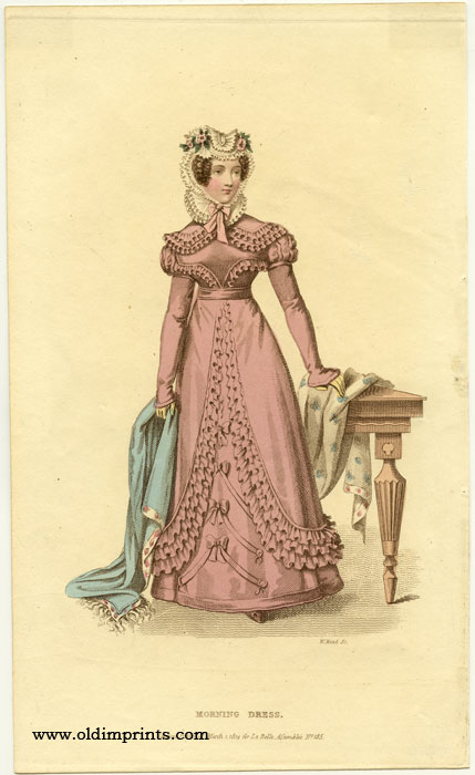 Morning Dress. 1820s FASHION) Read, William (engraved by). Softcover Etching / engraving with stipple engraving, handcolored, sheet size 9 x 5 1/2 inches. Very good condition; adhesive tape from previous matting on uppe